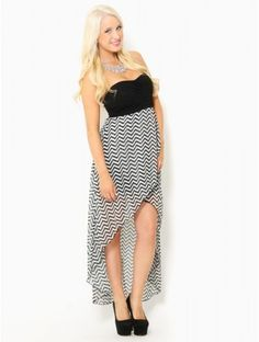 #Chevron Stripe High-Low #Dress