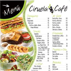 Menú Ciruela Cafe, isla de Megarita