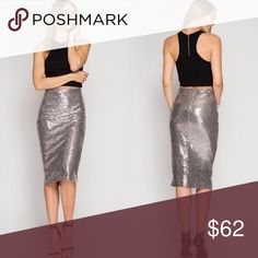 Silver Sequin Midi Pencil Skirt (Coming Soon) Silver Sequin Midi Pencil Skirt  Model is wearing size S. Skirts Midi