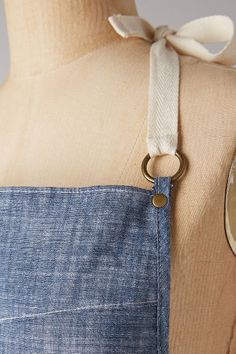 """Brushed Chambray Apron - anthropologie.com  30""""L, 26""""W 30"""" ties"""