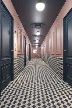 7 tips for a hallway like at the hotel. Hotel Corridor, Hotel Hallway, Long Hallway, Flur Design, Wall Design, House Design, Commercial Design, Commercial Interiors, Corridor Lighting