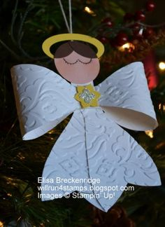 Gift Bow Die Angel Ornament by ebreck - Cards and Paper Crafts at Splitcoaststampers Christmas Paper, Christmas Crafts For Kids, Christmas Angels, Christmas Projects, Christmas Tree Ornaments, Holiday Crafts, Christmas Holidays, Christmas Cards, Christmas Decorations