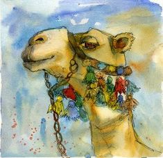 """watercolor print camel painting animal art"" by Miriam Schulman - Water colour - Kunst Watercolor Bird, Watercolor Animals, Music Drawings, Art Drawings, Animal Paintings, Animal Drawings, Drawing Animals, Camelus, Desert Animals"