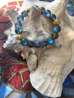 Amazing 10mm Aqua Aura Quartz Beaded Bracelet with by ParvatiBeads