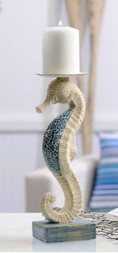Mosaic Glass SEAHORSE SCULPTURE CANDLE HOLDER.