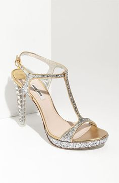 Miu Miu Glitter T-Strap Platform Sandal available at Nordstrom