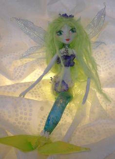 LILLI MAID soft sculpture Mermaid rag doll by Kaeriefaerie52, $45.00