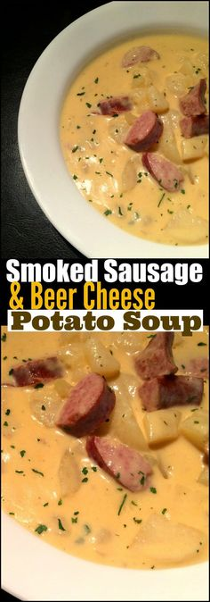 This Smoked Sausage & Beer Cheese Soup is PURE southern comfort in a bowl! Bonu… This Smoked Sausage & Beer Cheese Soup is PURE southern comfort in a bowl! Bonus: It is ready in under 30 minutes so perfect for a quick weeknight meal on a cold night! Quick Weeknight Meals, Easy Meals, Healthy Soup Recipes, Vegetarian Recipes, Potato Recipes, Vegetarian Soup, Good Soup Recipes, Crock Pot Soup Recipes, Easy Crockpot Soup