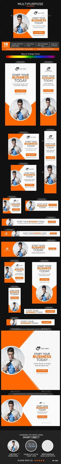 Buy Multipurpose Banners by Hyov on GraphicRiver. Promote your Products and services with this great looking Banner Set. Banner Template, Diy Banner, Facebook Ad Size, Banner Drawing, Rollup Banner, Summer Banner, One Page Website, Interactive Design, Banner Design