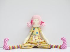 MADE TO ORDER Cloth doll softie stuffed doll - textile doll handmade child friendly fabric doll pink yellow plush birthday gift for girl