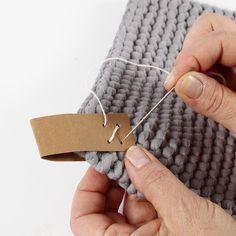 A Potholder from Cotton Tube Yarn - Home-made gifts - Creative ideas Mercerized Cotton Yarn, Yarn Inspiration, Cross Stitch Needles, Circular Knitting Needles, Knitting For Kids, Garter Stitch, Yarn Needle, Craft Items, Creative Gifts