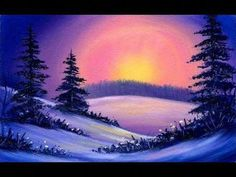 Cheerful Little Sunset / Small & Simple Oil Painting Exercise… Simple Oil Painting, Winter Painting, Winter Art, Painting Trees, Painting Clouds, Painting Art, Watercolor Painting, Painting Videos, Painting Lessons