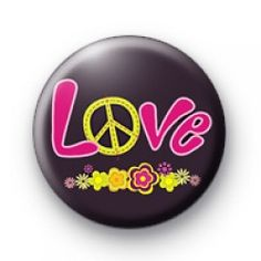 Pink Love Peace Badge Badge badges button badge pin pins buttons