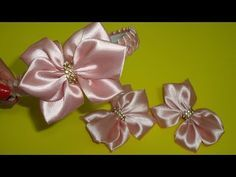 YouTube Diy Ribbon, Ribbon Bows, Diy Hair Bows, Diy Hairstyles, Fabric Flowers, Headbands, Diy And Crafts, Brooch, Youtube