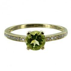 14K Gold Peridot & Diamond Round 6mm Ring