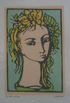 "Ludmila Jiřincová: ""Girl"", lithography, x 12 cm. Signed: L. Etchings, Medicinal Plants, Naive, Printmaking, Illustration, Mystic, Whimsical, Folk, Portraits"
