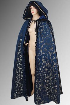 Medieval Renaissance Long Cape Cloak Costume Brocade 100% Handmade