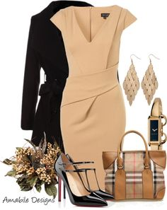 """Work wear"" by amabiledesigns on Polyvore....I ADORE this classic look. The cut of the dress is sure to flatter any women. Plus all the pieces are interchangeable...and the shoes are amazing!!!"