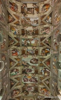 Sistine Chapel ceiling, Vatican. Saw it in person, but I don't think I was able to take in all of its glory.