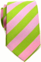 Boardroom - Lime Green & Cotton Candy Pink Striped Tropicale Silk Tie