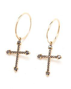 Grecian Diamond Cross Earrings - 9ct Gold