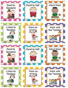 Polka Dot Daily 5 Rotation Cards by Elizabeth Walen Kindergarten Center Signs, Daily 5 Kindergarten, Classroom Posters, Classroom Activities, Book Activities, Daily 5 Reading, Guided Reading, Daily 5 Signs, Daily 5 Rotation