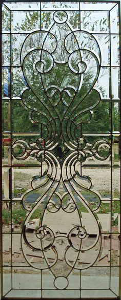 Beveled glass - always wanted to make a pair of these to hang, landscape, from the inside tops of my 2 front windows. One of these days. Stain, Stained Glass Mosaic, Mosaic Glass, Glass Door, Glass Front Door, Stained Glass, Glass Decor, Glass, Glass Design