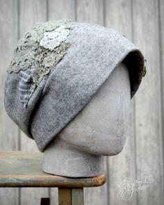 Stone Gray Lichen Covered Felt Cloche Hat by Jaya-Lee Designs.