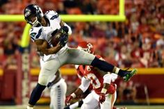 KANSAS CITY, MO - AUGUST 21:  B.J. Daniels #5 of the Seattle Seahawks makes a catch during the preseason game against the Kansas City Chiefs at Arrowhead Stadium on August 21, 2015 in Kansas City, Missouri.  (Photo by Peter Aiken/Getty Images)#GoHawks #SeahawksSB50 #SuperBowl3Pete