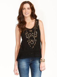 Image for Stud Lace Tank from Just Jeans