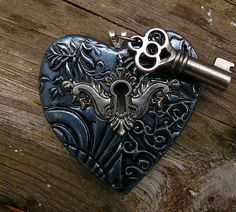 *POLYMER CLAY ~ The key to my heart pendant in oxidized silver.