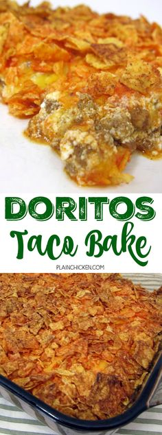 Doritos Taco Bake - OMG! SO good! crescent rolls topped with taco meat, tomato sauce, sour cream, cheese and doritos! Kids gobble this up! Ready in 30 minutes. Quick,easy, kid friendly and delicious! You can't beat it!