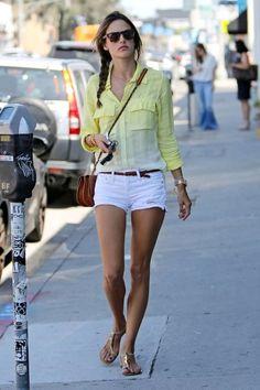 Alessandra Ambrosio in a lemon yellow shirt