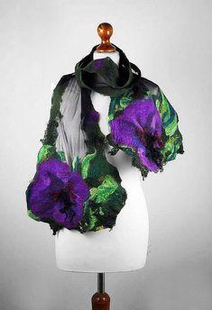 Felted Scarf  Wrap Scarve Felt Nunofelt Nuno felt Silk Silkyfelted Eco shawl Boho Fiber Art
