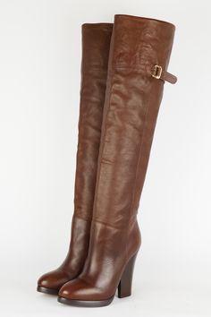 Stiefel Overknee mit Manschette Braun Echtleder Made in Italy