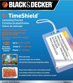 Price:       (adsbygoogle = window.adsbygoogle || []).push();  These laminating sheets for luggage tags are ideal for home, office and classroom use. Black & Decker Time Shield thermal laminating pouches provide a brilliant finish that is guaranteed to brighten colors, darken darks...