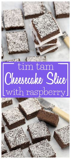 Tim Tam Cheesecake Slice with Raspberry - a simple sweet slice (bars) recipe using Tim Tam biscuits the whole family will love. It's even no bake! Tim Tam Cheesecake, Raspberry Cheesecake Bars, Cheesecake Recipes, Easy Delicious Recipes, Delicious Desserts, Snack Recipes, Dessert Recipes, Yummy Food, Snacks