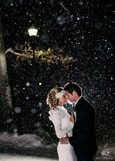 Snowy Winter Wedding Bride & Groom   © Matt Ramos Photography