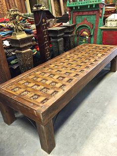 antique coffee table india furniture teak brass cladded long table