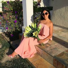 Glamorous @thefashionisha rocked our #JarloLondon #Lily maxi #dress in blush from the latest #HighSummer15 collection ~ she simply looks flawless ! Loving the #fashionvibes and your beautiful flowers ! Perfect combination.