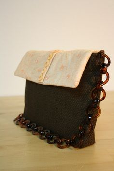 Dark brown woollen bag with apricot silk