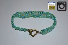 greens adn blues with clear flowers, ordered pice was £6.40 #fashion #bracelet #jewellery #buy #handmade #butterfly #3dbeading