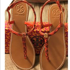 "Brand New Tory Burch Sandal Pink Alfie T Strap Thong Sandal Snakeskin upper. Thong strap with golden signature double-""T"" medallion. Slingback with adjustable buckle. 1/4"" flat heel. Size 8 Tory Burch Shoes Sandals"