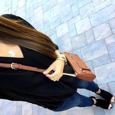 IG @mrscasual <click through to shop this look> Black tunic. Skinny jeans. Sole society peep toe ankle booties. Cognac cross body bag.