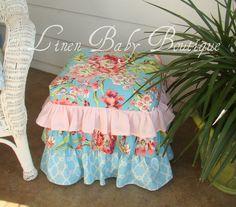 Slipcover an Ottoman Cover Baby Girl Nursery Decor, Baby Decor, Furniture Covers, Furniture Makeover, Camping Nursery, Ottoman Decor, Ottoman Cover, Baby Girl Princess, Craft Ideas