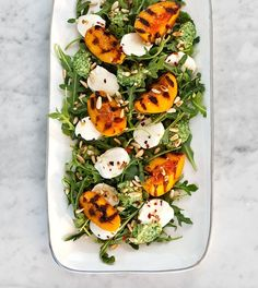 Grilled peach and mozzarella salad.