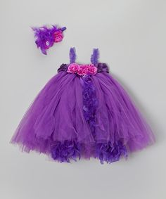 Take a look at this Purple Flowers Tutu Dress & Headband - Infant, Toddler & Girls on zulily today!