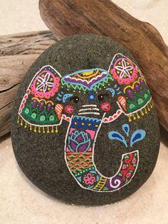 Henna Elephant Painted Stone