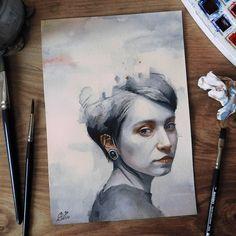 "Miroslav Zgabaj (@miro_z_art): ""Small watercolor painting  #portrait #face #watercolor #painting #paint #art #artwork…"""