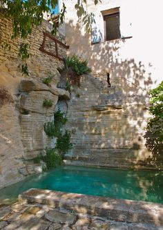 Nicole de Vesian's plunge pool at La Louve. The banding of the wall above should have been continued in the pool finish.